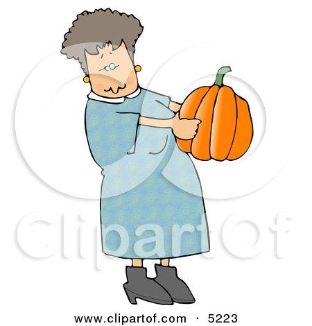 Woman Carrying an Uncarved Halloween Pumpkin Clipart by djart