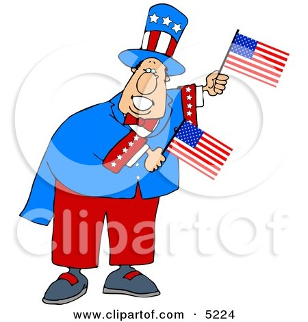 Humorous Uncle Sam Holding American Flags Posters, Art Prints