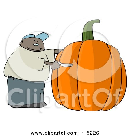 African American Man Carving a Face Into a Big Halloween Pumpkin Clipart by djart