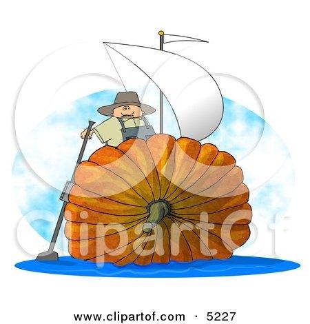 Humorous Man Sailing On an Oversized Pumpkin Sailboat Clipart by djart