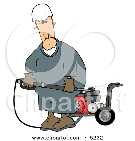 Man with a Heavy Duty High Performance Gas Powered Water Pressure Washer Clipart by djart