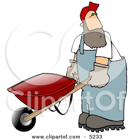 Man Pushing an Empty Wheelbarrow Clipart by djart