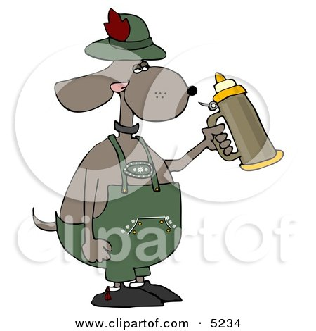 Humorous Anthropomorphic Dog Holding a Beer Stein While Celebrating Oktoberfest Clipart by djart