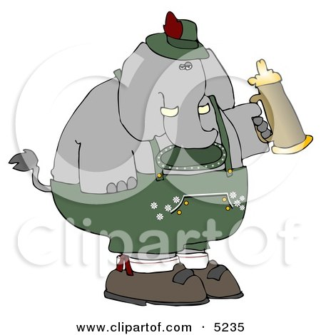 Humorous Elephant Holding a Beer Stein While Celebrating Oktoberfest - Holiday Clipart by djart