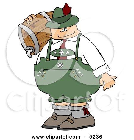 Oktoberfest Beer Man Carrying a Keg Clipart by djart