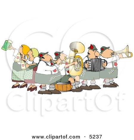 People Celebrating Oktoberfest with Live Music and Beer Clipart by Dennis Cox