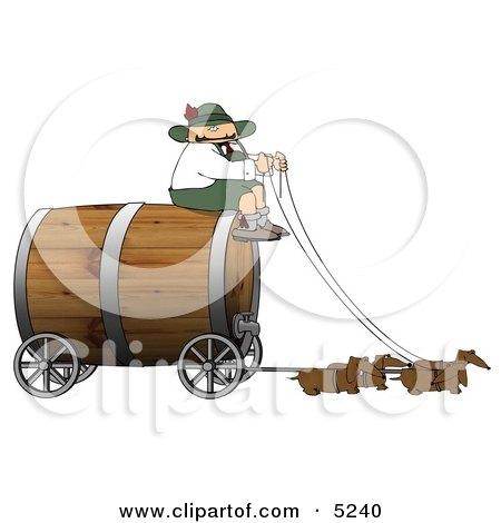 Humorous German Man Guiding Weiner Dogs Pulling an Oversized Wooden Beer Keg Wagon Clipart - Oktoberfest by djart
