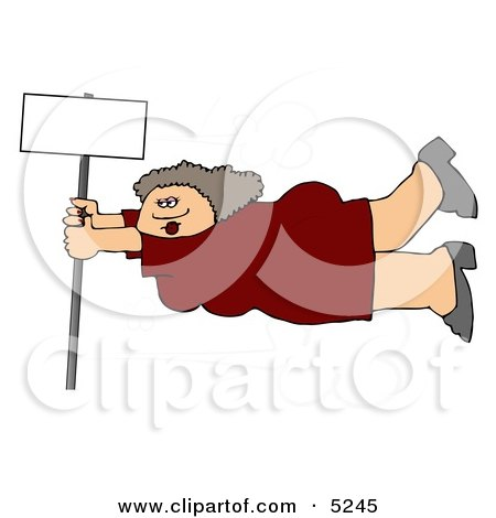 Woman Onto a Blank Sign Pole While Being Blown Around in a Severe Tropical Wind Storm Clipart by djart