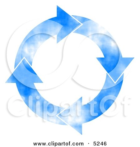 Cloudy Blue Sky Arrows Turning Clockwise Clipart Concept by djart