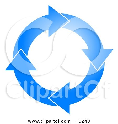 Blue Circle of Arrows Turning Clockwise Clip Art by djart