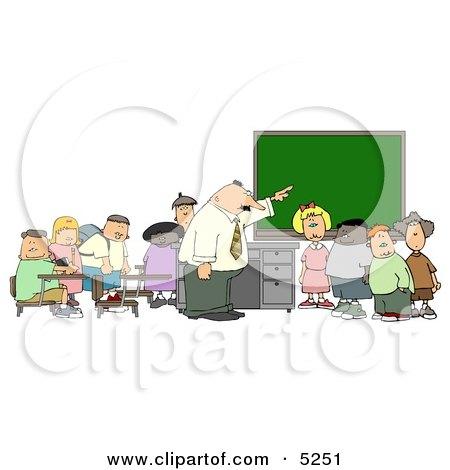 Teacher & Elementary Students in Classroom Clipart by djart