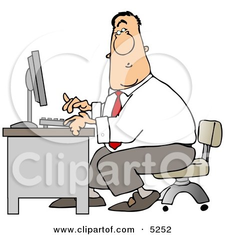 Man Typing On a Computer Keyboard In His Office at Work Clipart by djart