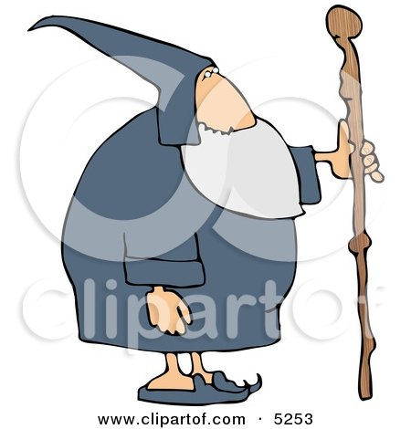 Old Wizard with Wooden Staff Clipart by djart