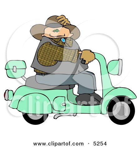 Cowboy Test Driving New Fuel Efficient Scooter Clipart