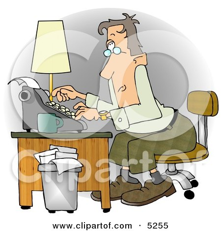 Busy Man Typing On a Typwriter In His Office at a Publishing Firm Posters, Art Prints