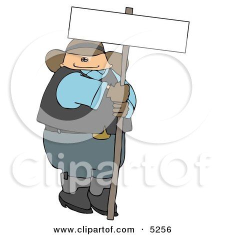 Fat Cowboy Holding a Blank Sign Posters, Art Prints