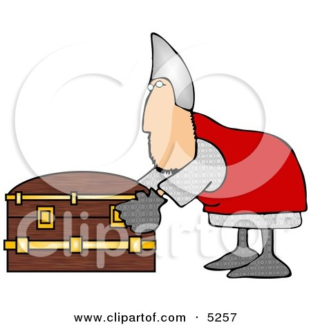 Soldier Opening a Wooden Treasure Chest Clipart Illustration by djart