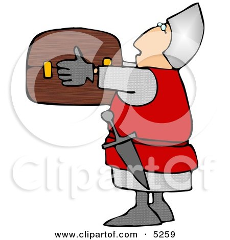 Soldier Carrying a Wooden Treasure Chest Clipart Illustration by djart