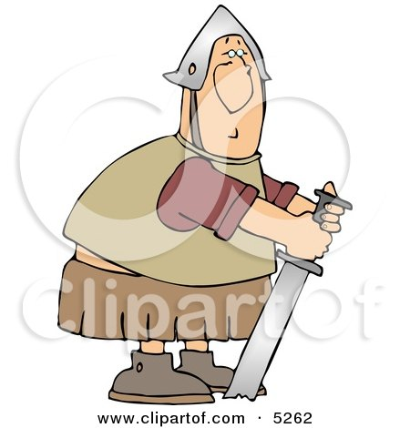 Humorous Roman Soldier Trying To Pull His Stuck Sword From Ground Clipart
