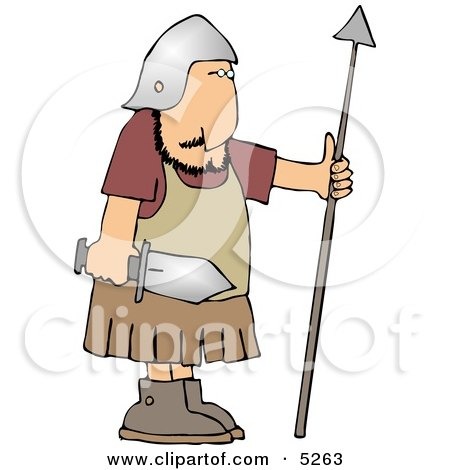 Roman Army Soldier Armed With A Sword And Spear Clipart
