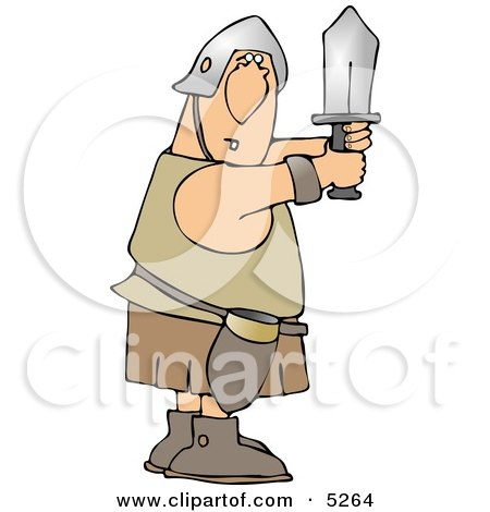 Goofy Roman Soldier Fighting With Sword Clipart