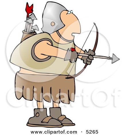 Roman Archer Soldier Shooting An Arrow Clipart