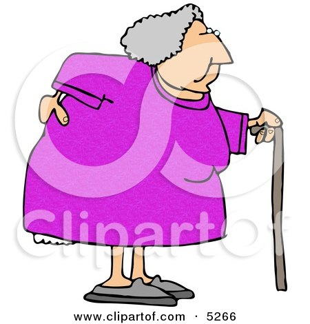 Obese Elderly Woman Walking On A Cane With A Painful Back Clipart