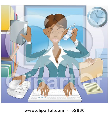 Royalty-Free (RF) Clipart Illustration of a Busy Multi Tasking African American Assistant Secretary Woman Typing, Filing, Organizing and Taking Phone Calls by AtStockIllustration