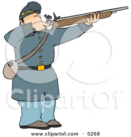Male Military Union Soldier Aiming Rifle Clipart Illustration