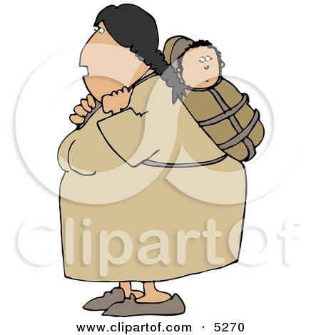 North American Indian Woman Carrying Papoose On Her Back Posters, Art Prints