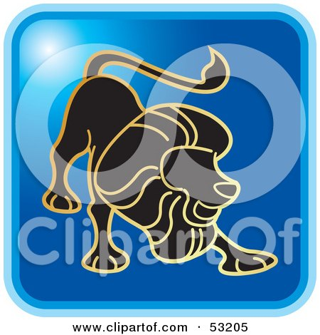 Royalty-Free (RF) Clipart Illustration of a Blue Square Leo Astrology Icon by Lal Perera