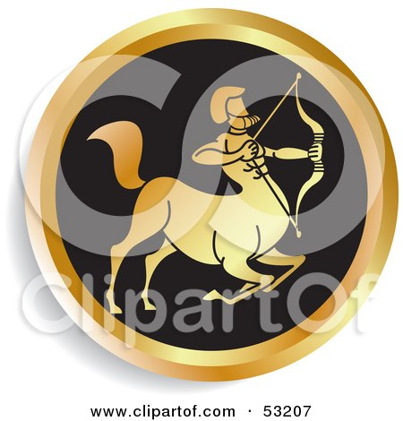 Royalty-Free (RF) Clipart Illustration of a Round Gold And Black Sagittarius Astrology Icon by Lal Perera