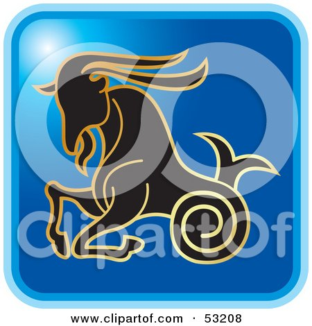Royalty-Free (RF) Clipart Illustration of a Blue Square Capricorn Astrology Icon by Lal Perera