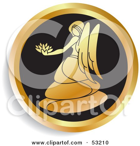 Royalty-Free (RF) Clipart Illustration of a Round Gold And Black Virgo Astrology Icon by Lal Perera
