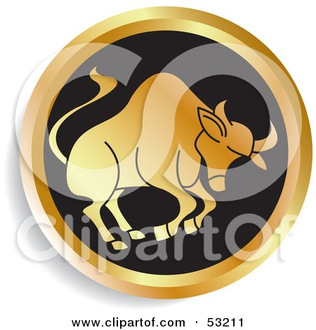 Royalty-Free (RF) Clipart Illustration of a Round Gold And Black Taurus Astrology Icon by Lal Perera