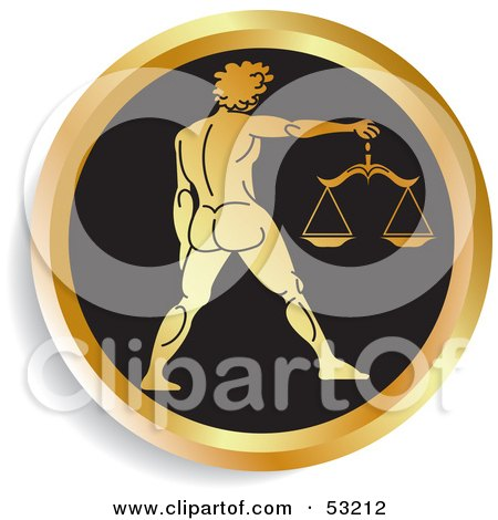 Royalty-Free (RF) Clipart Illustration of a Round Gold And Black Libra Astrology Icon by Lal Perera