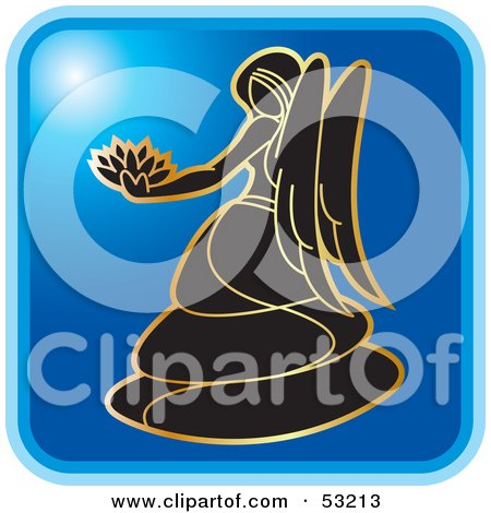Royalty-Free (RF) Clipart Illustration of a Blue Square Virgo Astrology Icon by Lal Perera
