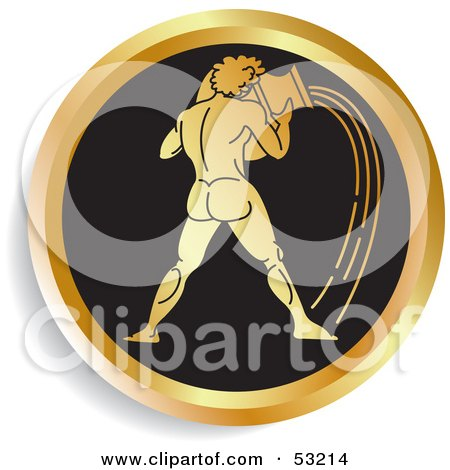 Royalty-Free (RF) Clipart Illustration of a Round Gold And Black Aquarius Astrology Icon by Lal Perera