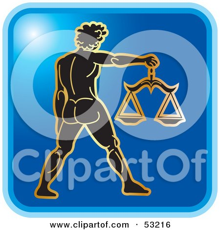 Royalty-Free (RF) Clipart Illustration of a Blue Square Libra Astrology Icon by Lal Perera