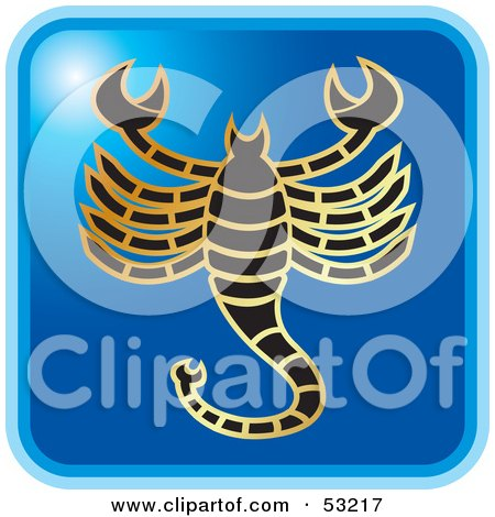 Royalty-Free (RF) Clipart Illustration of a Blue Square Scorpio Astrology Icon by Lal Perera