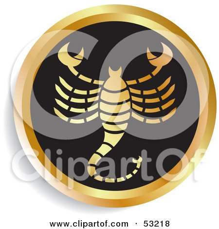 Royalty-Free (RF) Clipart Illustration of a Round Gold And Black Scorpio Astrology Icon by Lal Perera