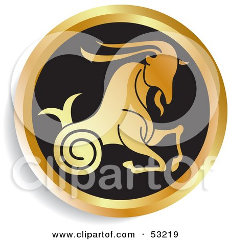 Royalty-Free (RF) Clipart Illustration of a Round Gold And Black Capricorn Astrology Icon by Lal Perera