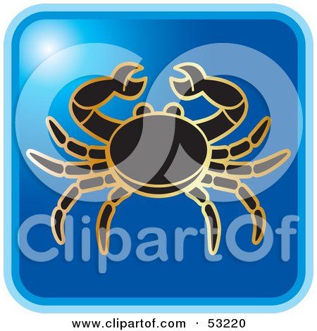 Royalty-Free (RF) Clipart Illustration of a Blue Square Cancer Astrology Icon by Lal Perera
