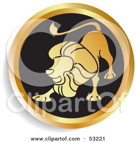 Royalty-Free (RF) Clipart Illustration of a Round Gold And Black Leo Astrology Icon by Lal Perera