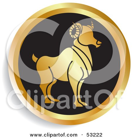 Royalty-Free (RF) Clipart Illustration of a Round Gold And Black Aries Astrology Icon by Lal Perera