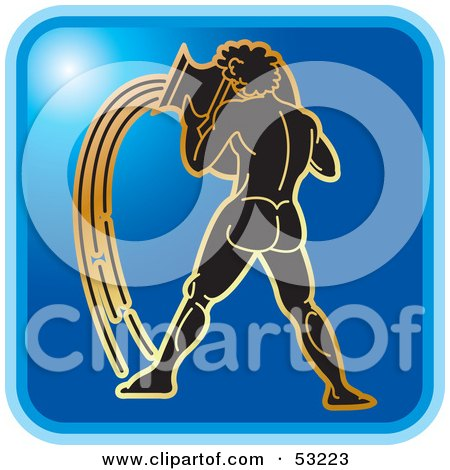 Royalty-Free (RF) Clipart Illustration of a Blue Square Aquarius Astrology Icon by Lal Perera