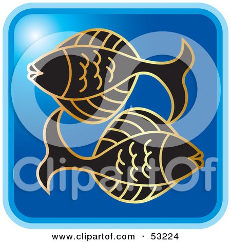 Royalty-Free (RF) Clipart Illustration of a Blue Square Pisces Astrology Icon by Lal Perera