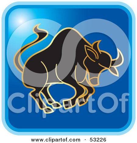 Royalty-Free (RF) Clipart Illustration of a Blue Square Taurus Astrology Icon by Lal Perera