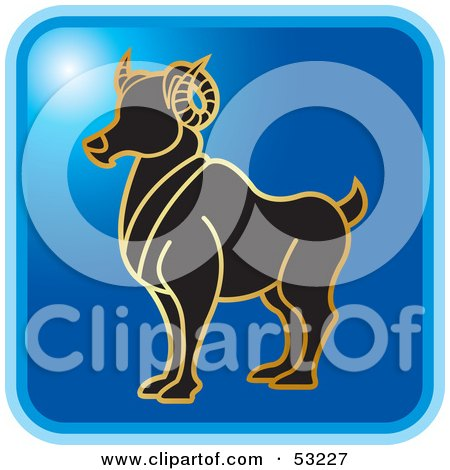 Royalty-Free (RF) Clipart Illustration of a Blue Square Aries Astrology Icon by Lal Perera