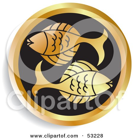 Royalty-Free (RF) Clipart Illustration of a Round Gold And Black Pisces Astrology Icon by Lal Perera
